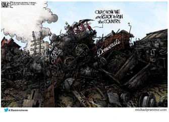 Political Cartoon U.S. Democrats Iowa Caucus leadership primaries trainwreck 2020 presidential election