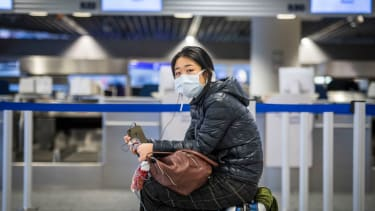 A tourist at the airport in Frankfurt, Germany.