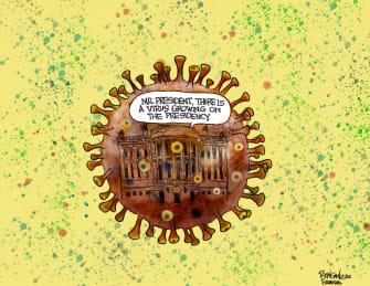 Political Cartoon U.S. Trump White House Coronavirus infection diseased presidency