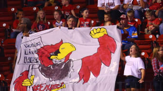A banner protesting police brutality at a Cardinals game