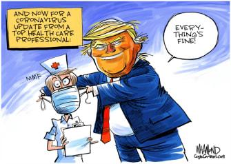 Political Cartoon U.S. Trump coronavirus medical professionals