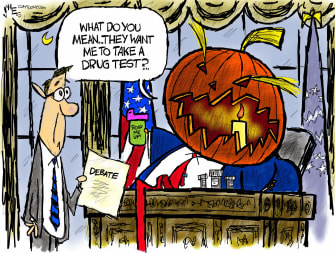 Political Cartoon U.S. Trump COVID Halloween