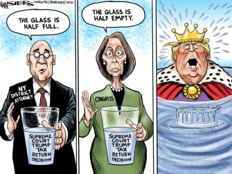 Political Cartoon U.S. Trump Tax returns supreme court