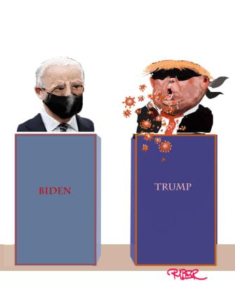 Political Cartoon U.S. Trump Biden 2020 coronavirus masks