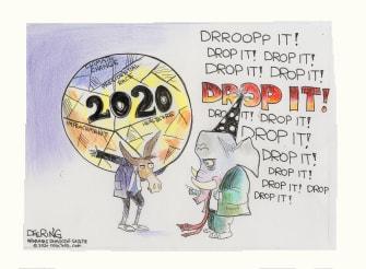 Political Cartoons U.S. Democrats 2020 Ball Drop