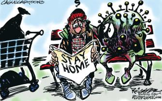 Editorial Cartoon U.S. Coronavirus COVID-19 Stay Home Order homeless housing vulnerable