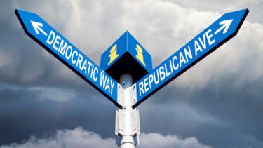 Democrat or Republican signpost