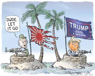Political Cartoon U.S. Trump WWII Japan loss