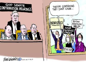 Political Cartoon U.S. Republican senators covid relief