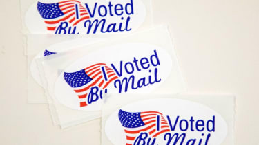 """""""I Voted By Mail"""" stickers."""