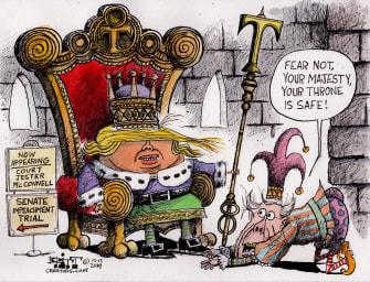 Political Cartoon U.S. Trump Impeachment Trial McConnell Court Jester