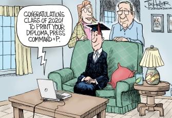 Editorial Cartoon U.S. college coronavirus distance learning