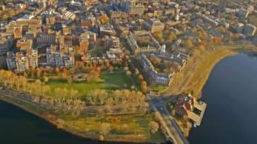 An aerial view of Harvard University