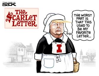 Political Cartoon U.S. Trump The Scarlet Impeachment Letter