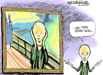 Political Cartoon U.S. Biden The Scream