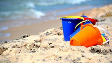 Buckets on beach.