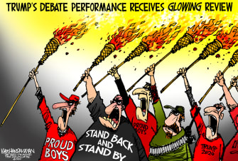 Political Cartoon U.S. Trump debate proud boys