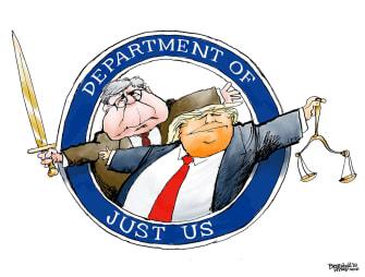 Political Cartoon U.S. Trump Barr Department Of Just Us