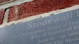 A memorial plaque at the Stonewall Inn.