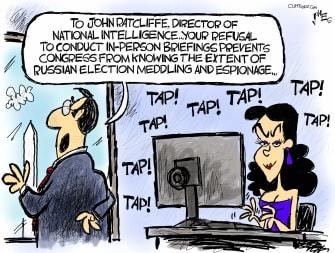 Political Cartoon U.S. John Ratcliffe Natasha Russia