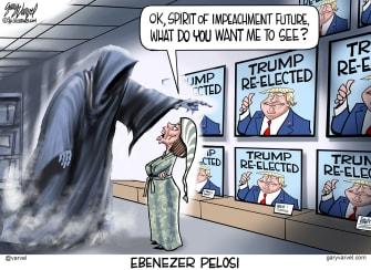 Political Cartoon U.S. Ebenezer Pelosi Trump Re-elected