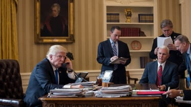 President Trump on the phone with Russian President Vladimir Putin.