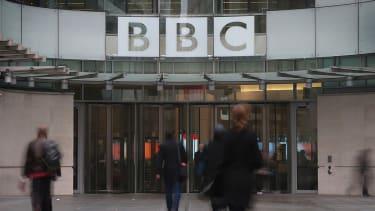 Outside BBC headquarters.