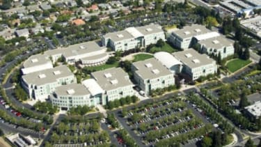 An aerial shot of Apple Headquarters in Cupertino, Calif.: Buildings are often physically changed keep a highly secretive project from fellow employees.