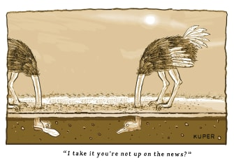 Editorial Cartoon U.S. CDC recommends public to use mask ostrich