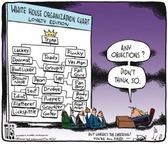 Political Cartoon U.S. Trump White House staff cabinet administration lackies loyalty