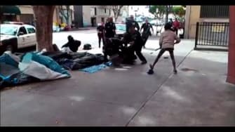A still from the video showing a police-involved shooting.