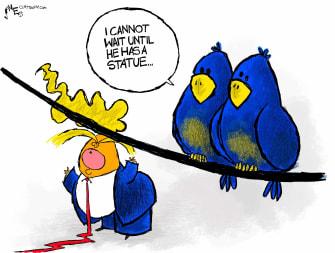 Political Cartoon U.S. Trump birds statue
