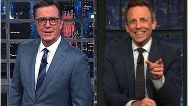 Seth Meyers and Stephen Colbert on the Senate trial