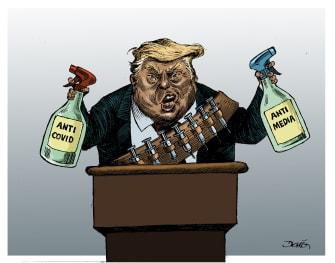 Political Cartoon U.S. Trump armed anticovid protests anti media