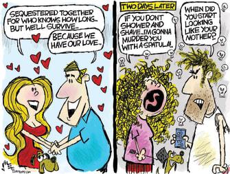 Editorial Cartoon U.S. social distancing love spat work from home
