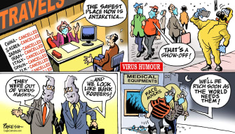 Editorial Cartoon World Coronavirus COVID-19 pandemic air travel face masks markets selfies