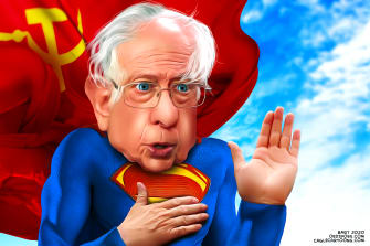 Political Cartoon U.S. Superman Sanders frontrunner 2020 election communism