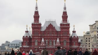 Tourists in Moscow's Red Square.