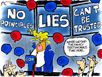 Political Cartoon U.S. Trump RNC family