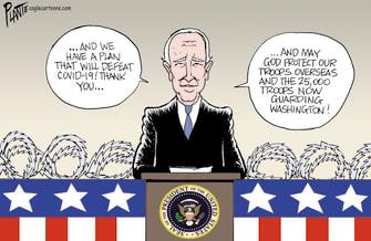 Political Cartoon U.S. Biden inauguration troops