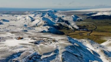 The Icelandic site for a new project called CarbFix that pumps thousands of gallons of water infused with COs into the porous volcanic rock deep underground.