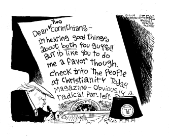 Political Cartoon U.S. Trump Christianity Today