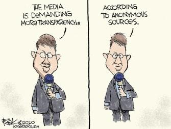 Editorial Cartoon U.S. media anonymous sources