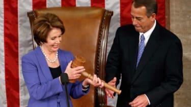 House Minority Leader Nancy Pelosi (D) and House Speaker John Boehner (R)