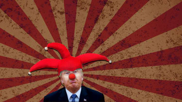 President Trump in a jester hat with a red nose.
