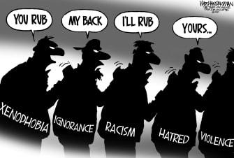 Editorial Cartoon U.S. xenophobia asian hate