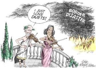Political Cartoon U.S. biden harris border migrants