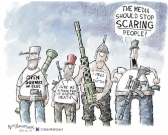 Editorial Cartoon U.S. coronavirus anti lockdown protesters