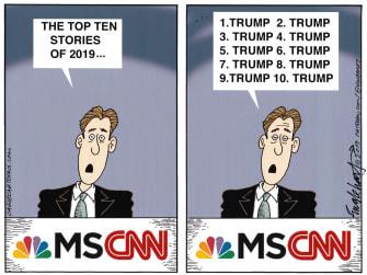 Political Cartoon U.S. 2019 Trump CNN MSNBC media