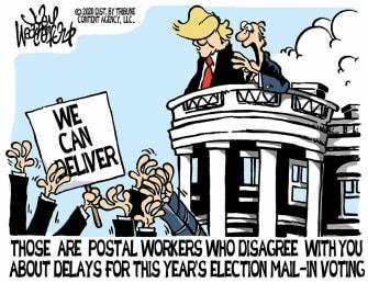Political Cartoon U.S. 2020 Election Trump Postal Service